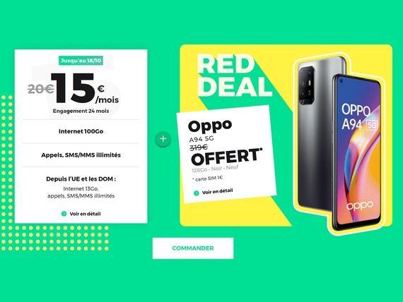 Le smartphone Oppo A94 d'une valeur de 319€ est offert avec le forfait RED by SFR 100 Go