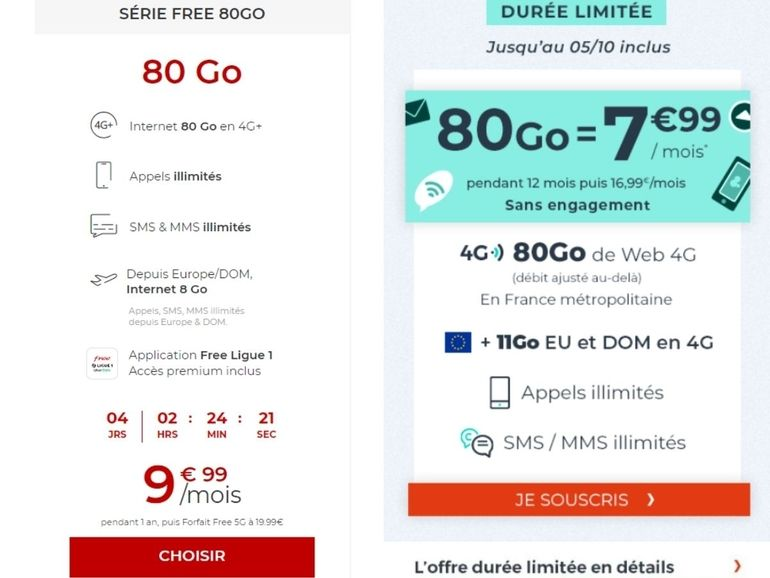 Free vs Cdiscount : quel est le meilleur forfait mobile avec 80 Go d'internet mobile ?
