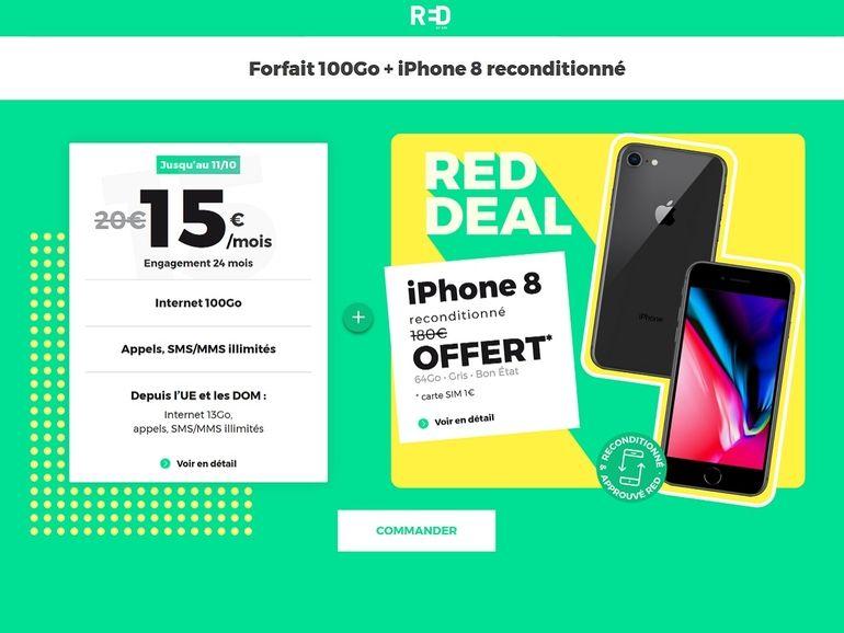 RED by SFR relance son forfait 100 Go à 15€/mois avec un iPhone 8 offert