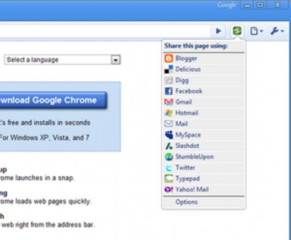 Bouton Google Partage pour Chrome