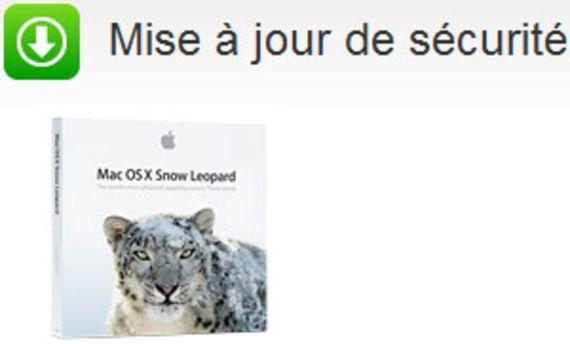 Mise à jour de sécurité Mac OS X