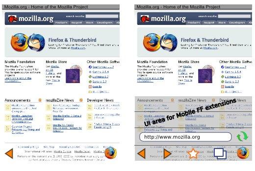 Vue de la future interface graphique de Firefox Mobile.
