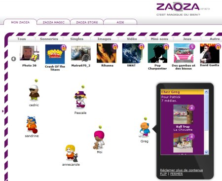 Interface de la plate-forme Zaoza