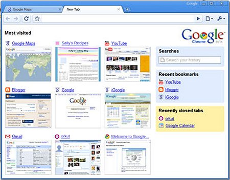 Interface du navigateur Chrome conçu par Google