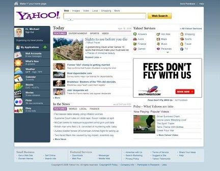le nouvelle page d'accueil du portail Yahoo