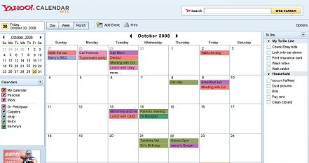 L'interface de la version bêta de Yahoo Calendar