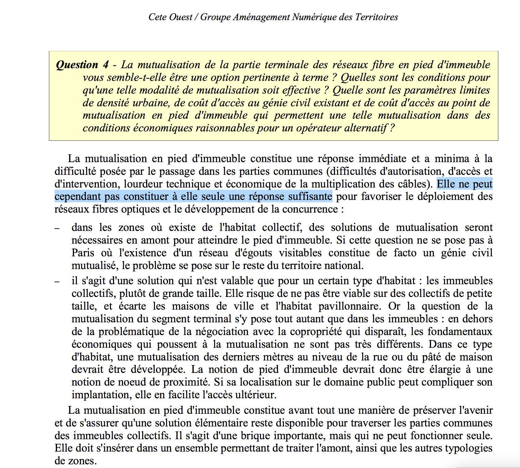 une réponse à la consultation de l'ARCEP en 2007