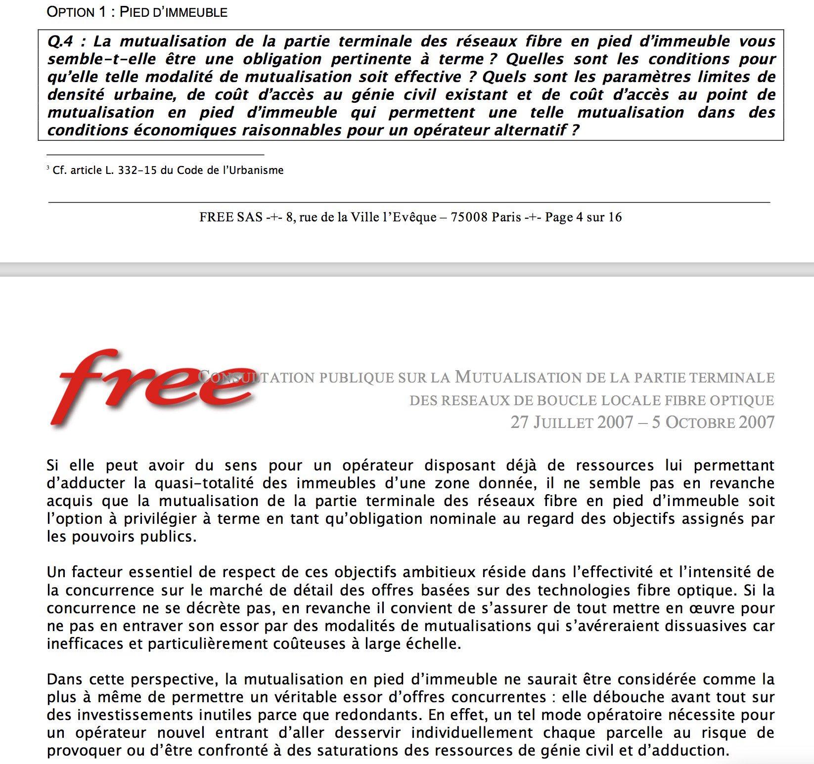 la réponse de Free à l'ARCEP en 2007