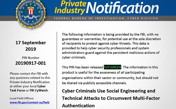 Le FBI met en garde contre les attaques qui contournent l'authentification multifacteurs