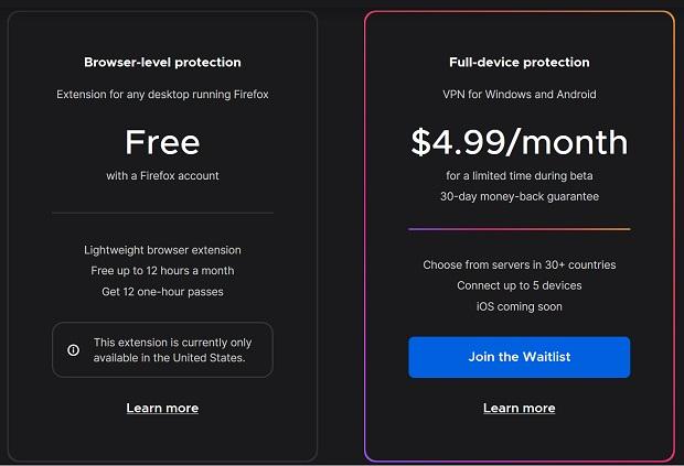 Firefox : le VPN fait ses premiers pas en bêta