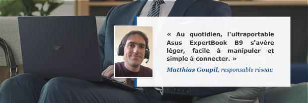 Avis de Matthias Goupil sur l'ultraportable Asus ExpertBook B9