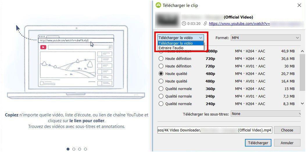 Téléchargement et extraction vidéo de 4K Video Downloader