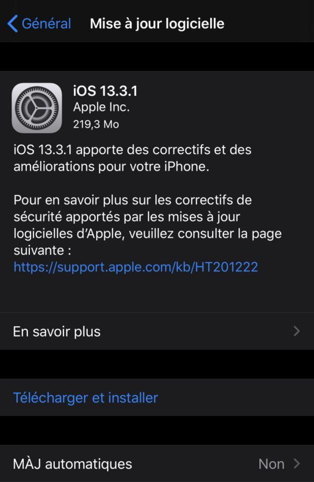 Première mise à jour iOS de l'année, une série de bugs corrigés
