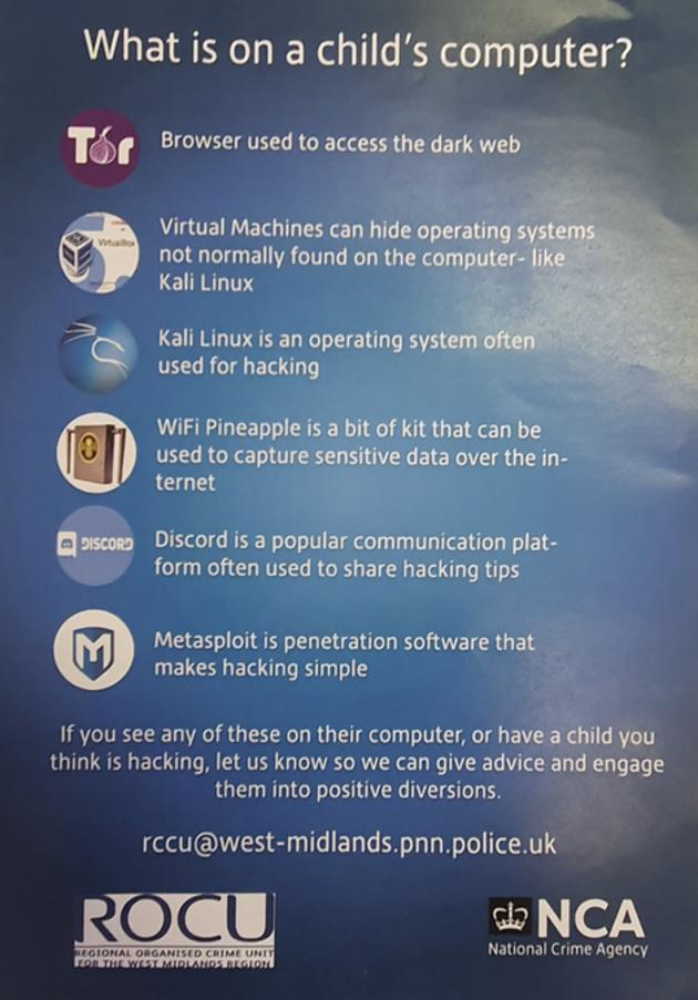 Une affiche britannique invite les parents à se méfier de Kali Linux et Discord chez leurs enfants
